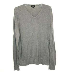 Uniqlo Cotton Cashmere Blend V-Neck Sweater Gray